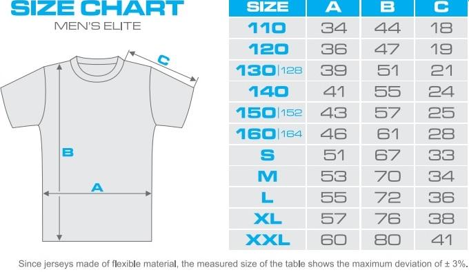velikostní tabulka – Tričko P. N. HOCKEY Classic