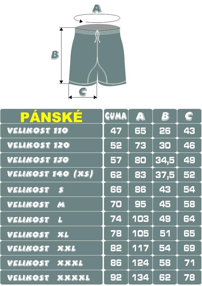 velikostní tabulka šortek P. N. HOCKEY